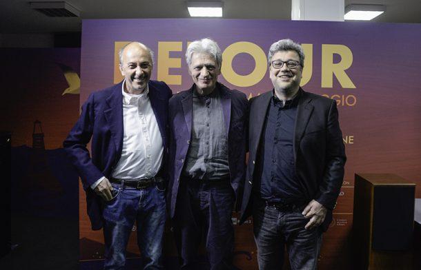 Detour Festival 2019. Da sx Francesco Bonsembiante, Fabrizio Bentivoglio e Marco Segato.