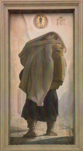 """Pietro Annigoni, """"Un fratello della Misericordia trasporta un infermo con la zana (La Carità)"""